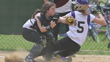 Kings Park catcher Ariana Ambrosio #22 gets the
