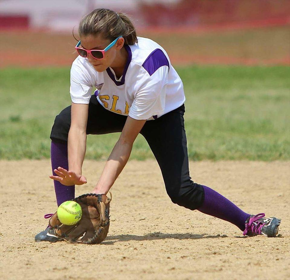 Islip second baseman Tess Sala #8 grabs