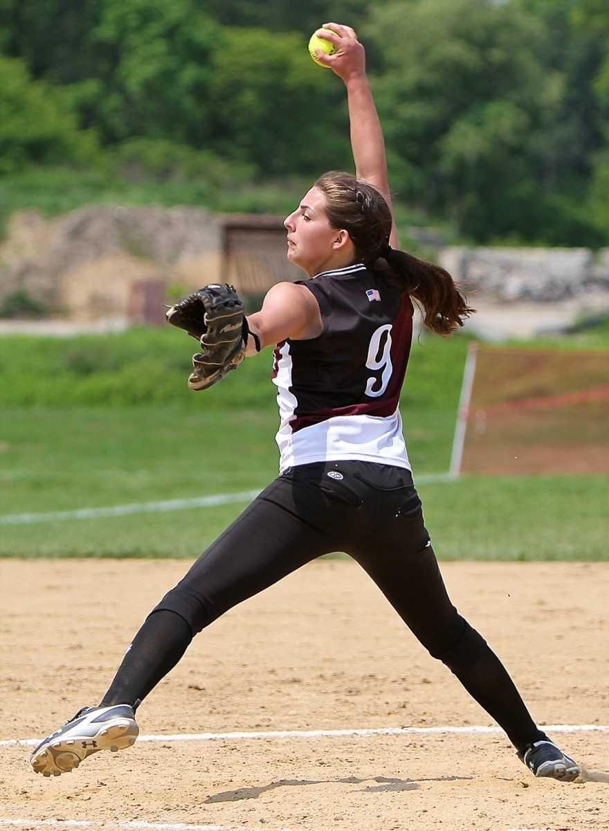 Lindsay Taylor #9, starting pitcher for Kings Park,