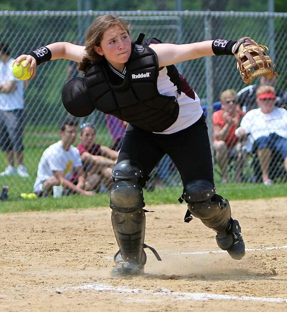 Kings Park catcher Ariana Ambrosio #22 grabs the