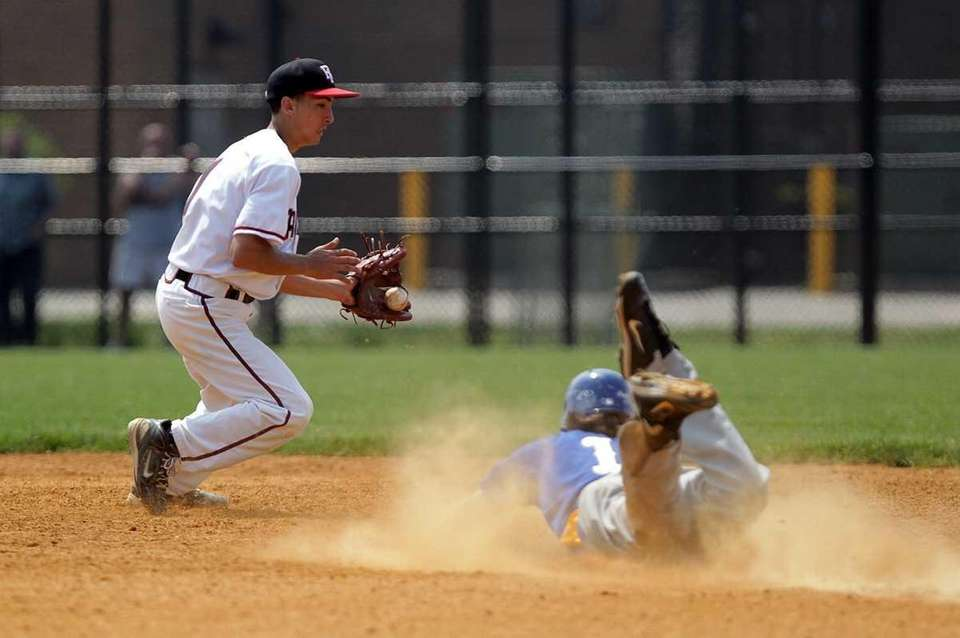 West Islip's Sam Ilario (11) slides into second