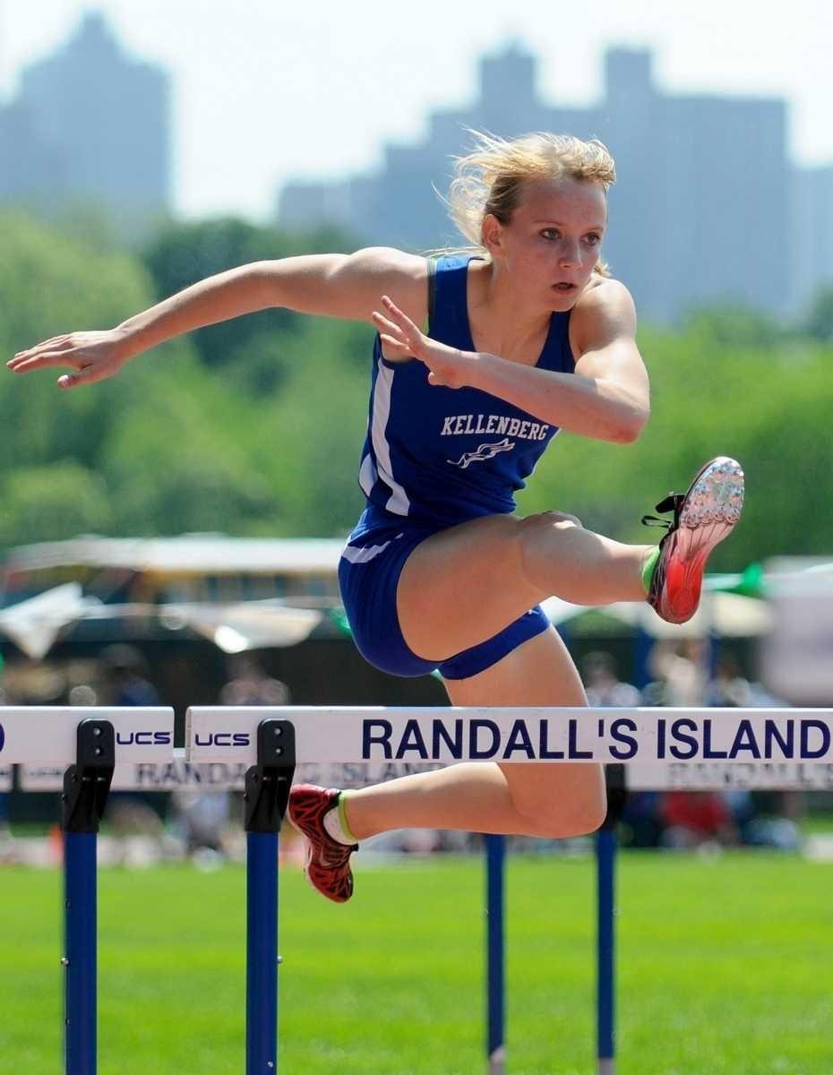 Kellenberg High School junior Katie Cavanaugh races to
