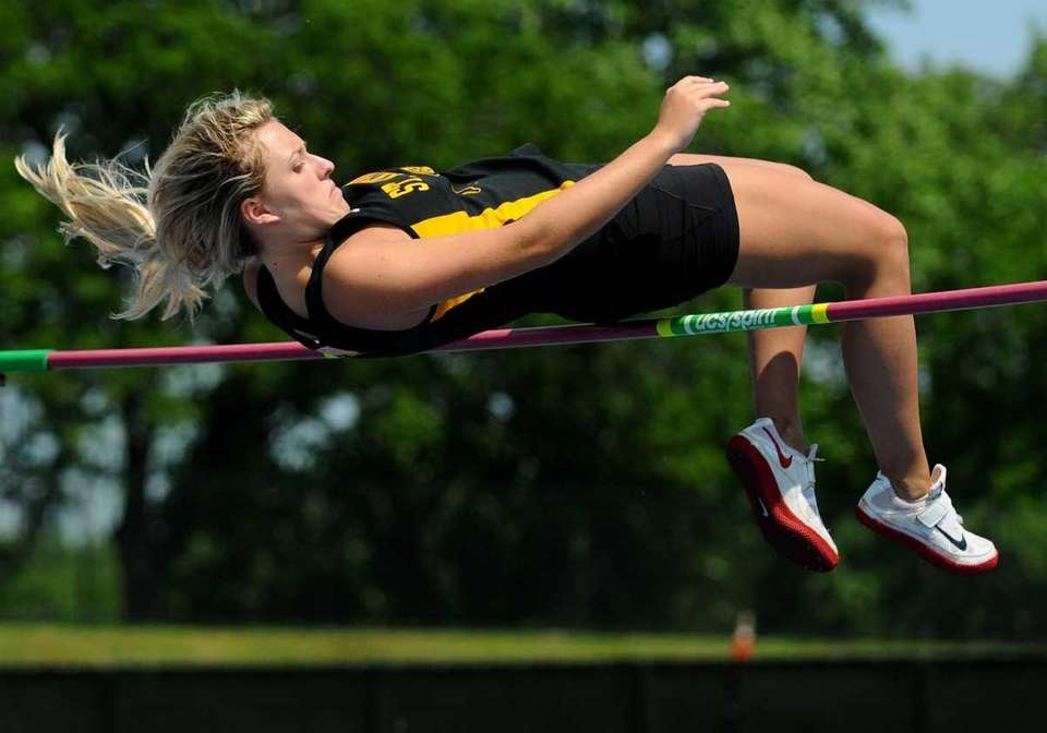 St. Amthony's High School senior Katie Gallagher clears
