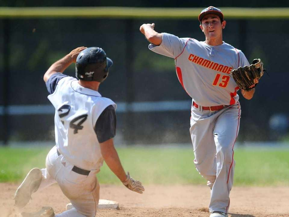 Chaminade High School second baseman Thomas Roulis forces