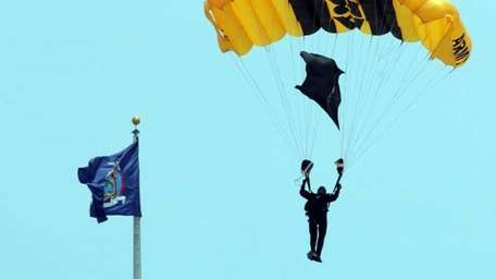 A member of the Golden Knights parachute team
