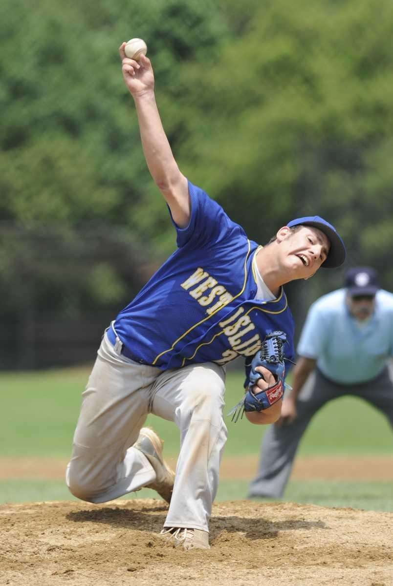 West Islip's Christian Stancavage pitches against Commack in