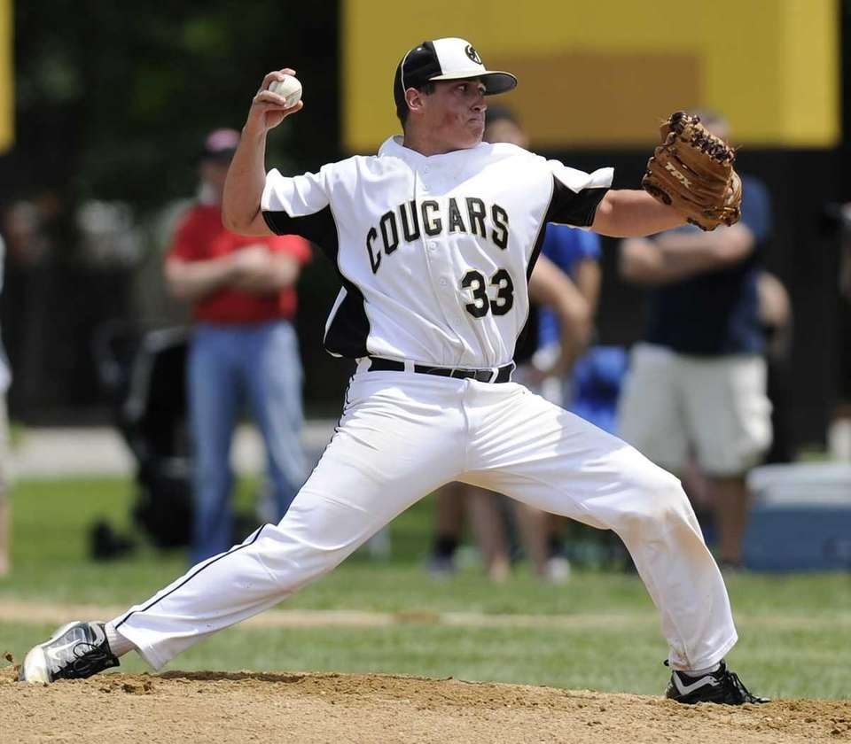 Commack starting pitcher Mike Sparacino throws to the