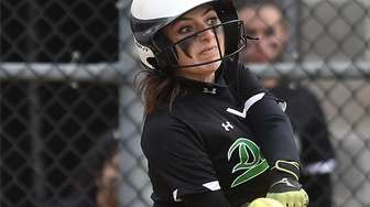 Brianna Loughlin #5 of Farmingdale bats during a