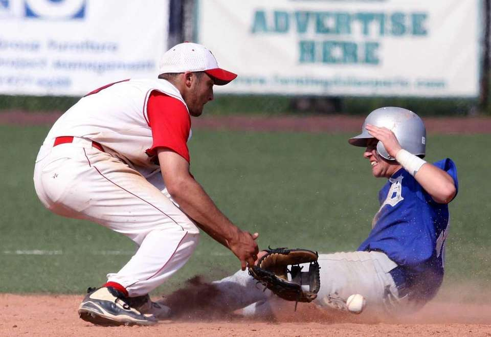 Division's Lenny Martinez steals second against Island Trees