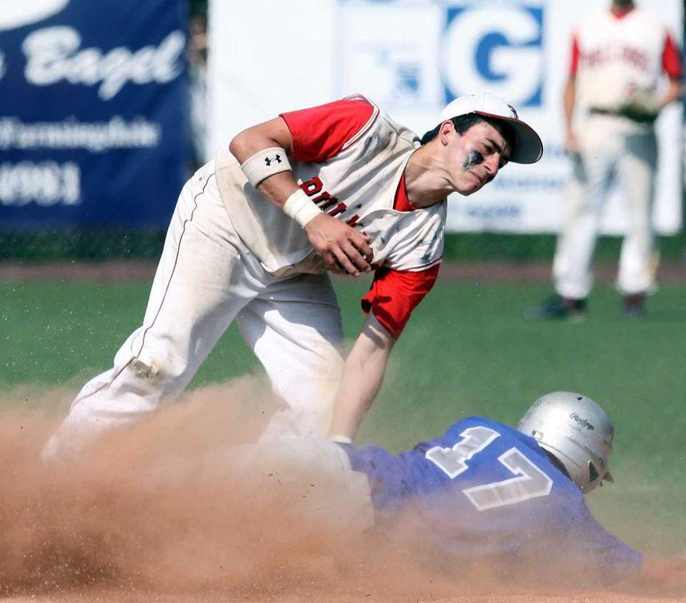 Division's Michael Longo steals second as he beats
