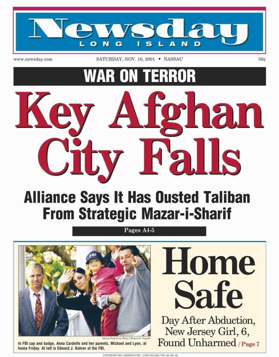 Saturday, November 10, 2001. Read the story