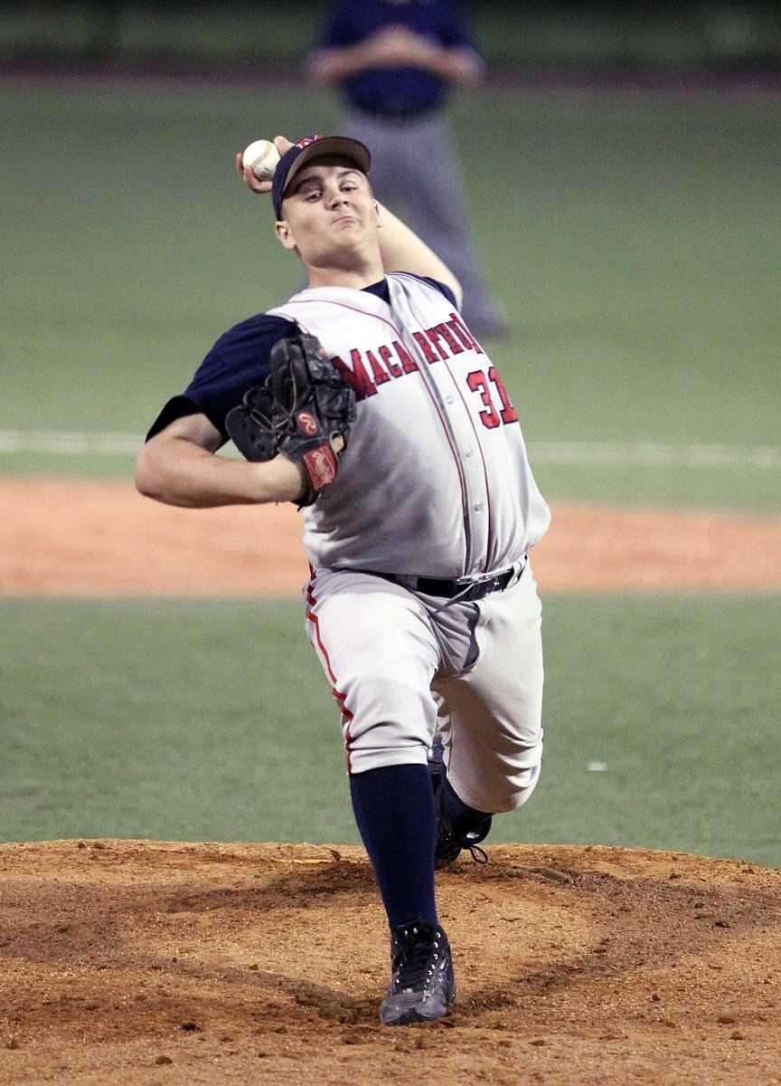 MacArthur pitcher Joe Chiaramonte on the hill during