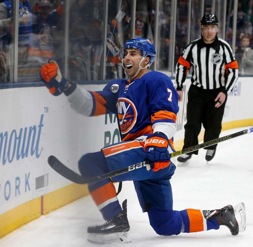 Jordan Eberle of the Islanders celebrates his first-period