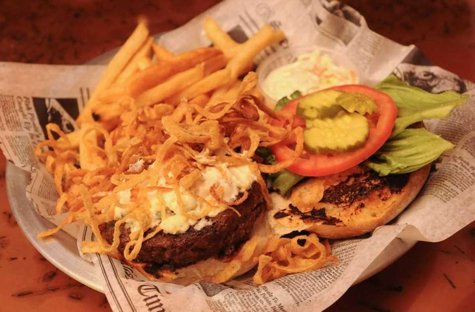 Steakhouse burger with blue cheese, onion straws and