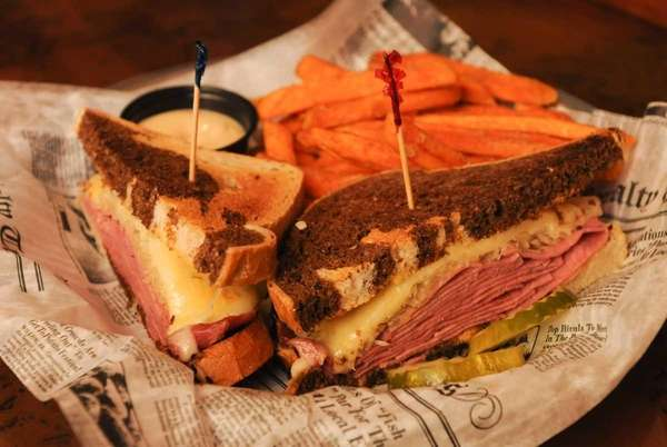 Classic Reuben on marble rye at Downtown Burger