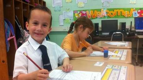 James Funaro in his first-grade class at Nesconset