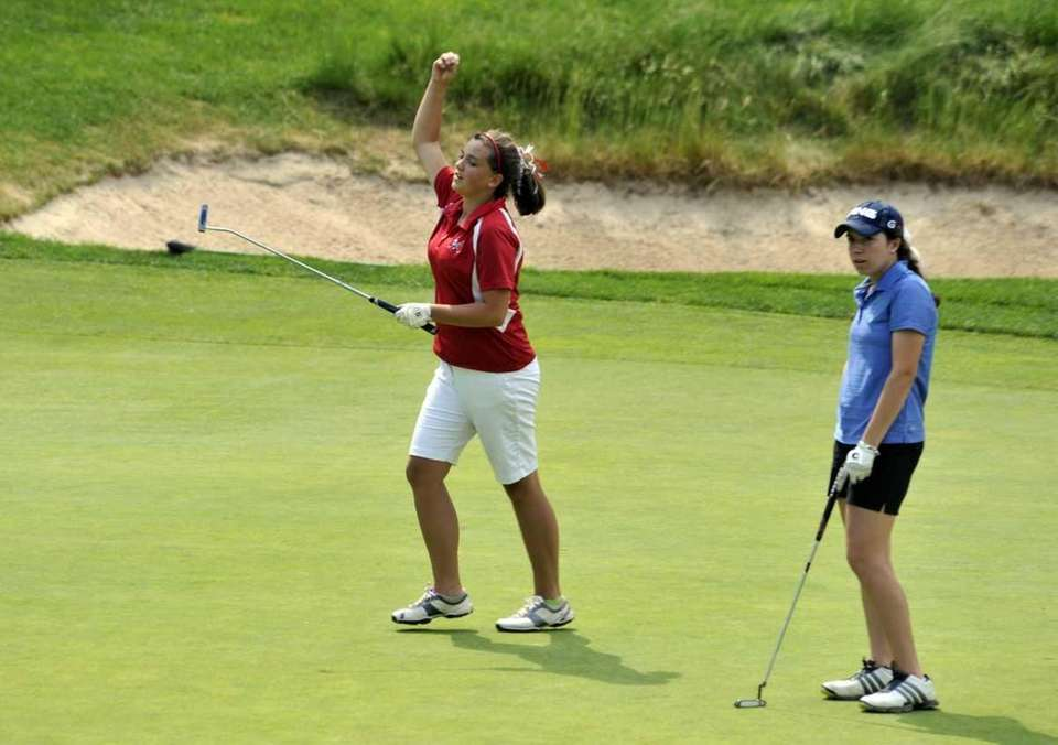 Lindsay Selman of Smithtown East pumps her fist