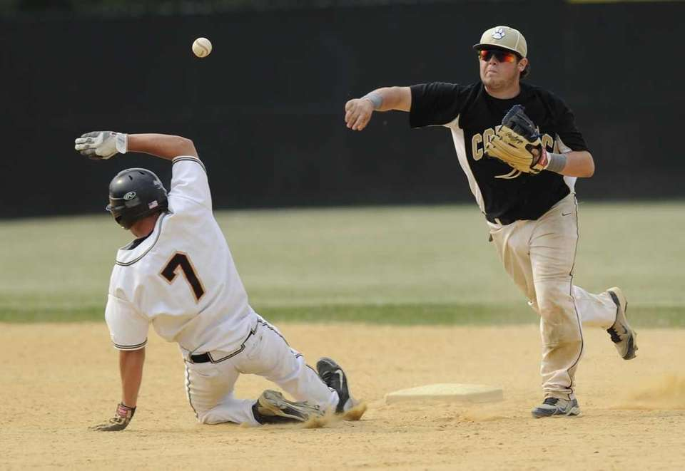 Sachem North's Steve Kowalski is out at second