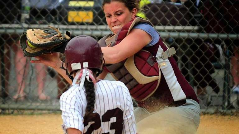 Bay Shore's Giana Panariello is tagged out at