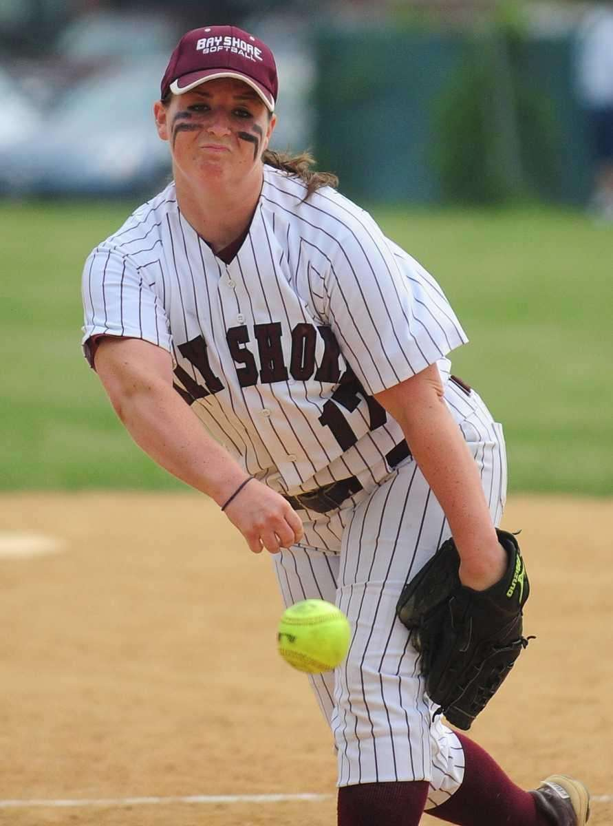 Bay Shore's pitcher Taylor McGowen throws during her