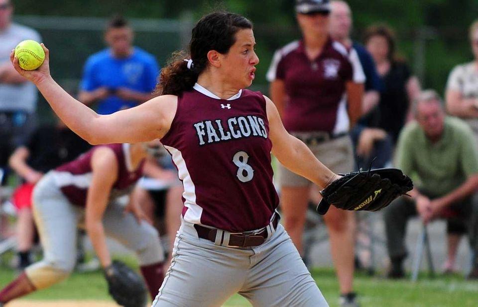 Deer Park's pitcher Lisa Bonacasa throws during her