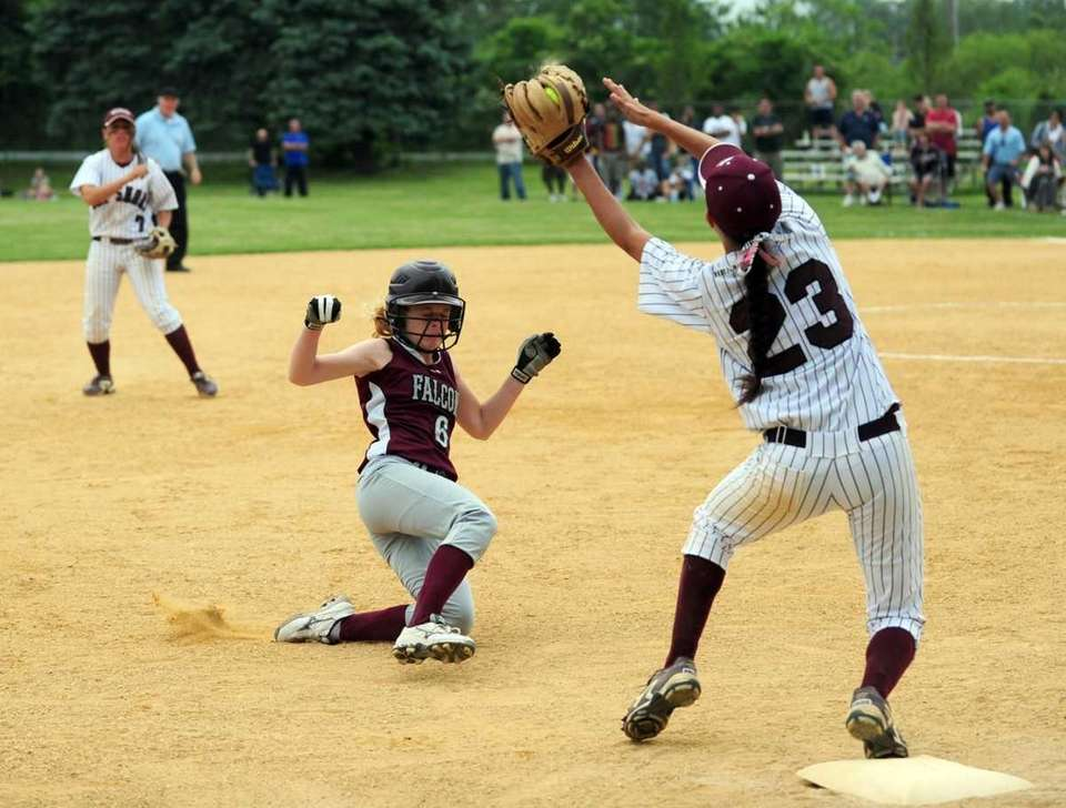 Bay Shore's Giana Panariello makes the out on