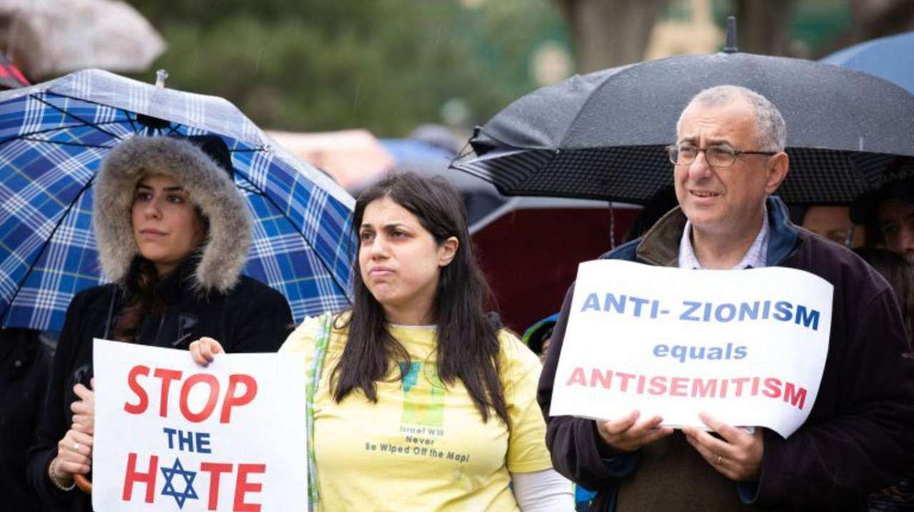 Dozens of Jewish people, their supporters and local