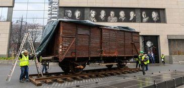 A German-made World War II-era freight car on