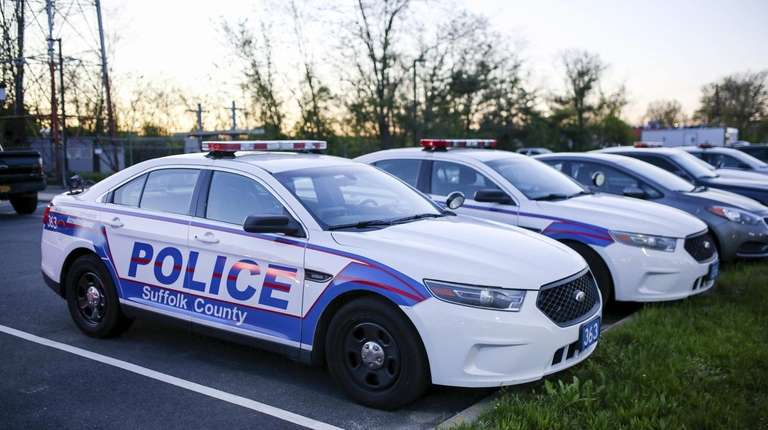 Suffolk County Police Department patrol cars are pictured