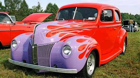 A 1940 Ford Deluxe on display at the