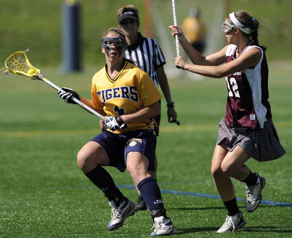 Northport's Shannon Gilroy is defended by Bay Shore's