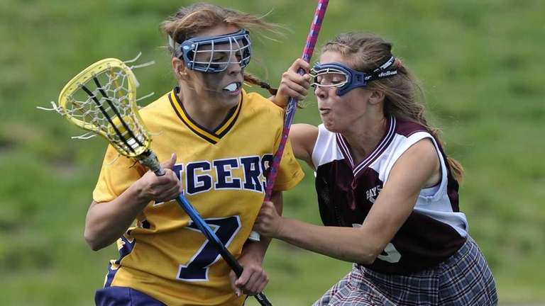 Northport's Allie Pavinelli is defended by Bay Shore's