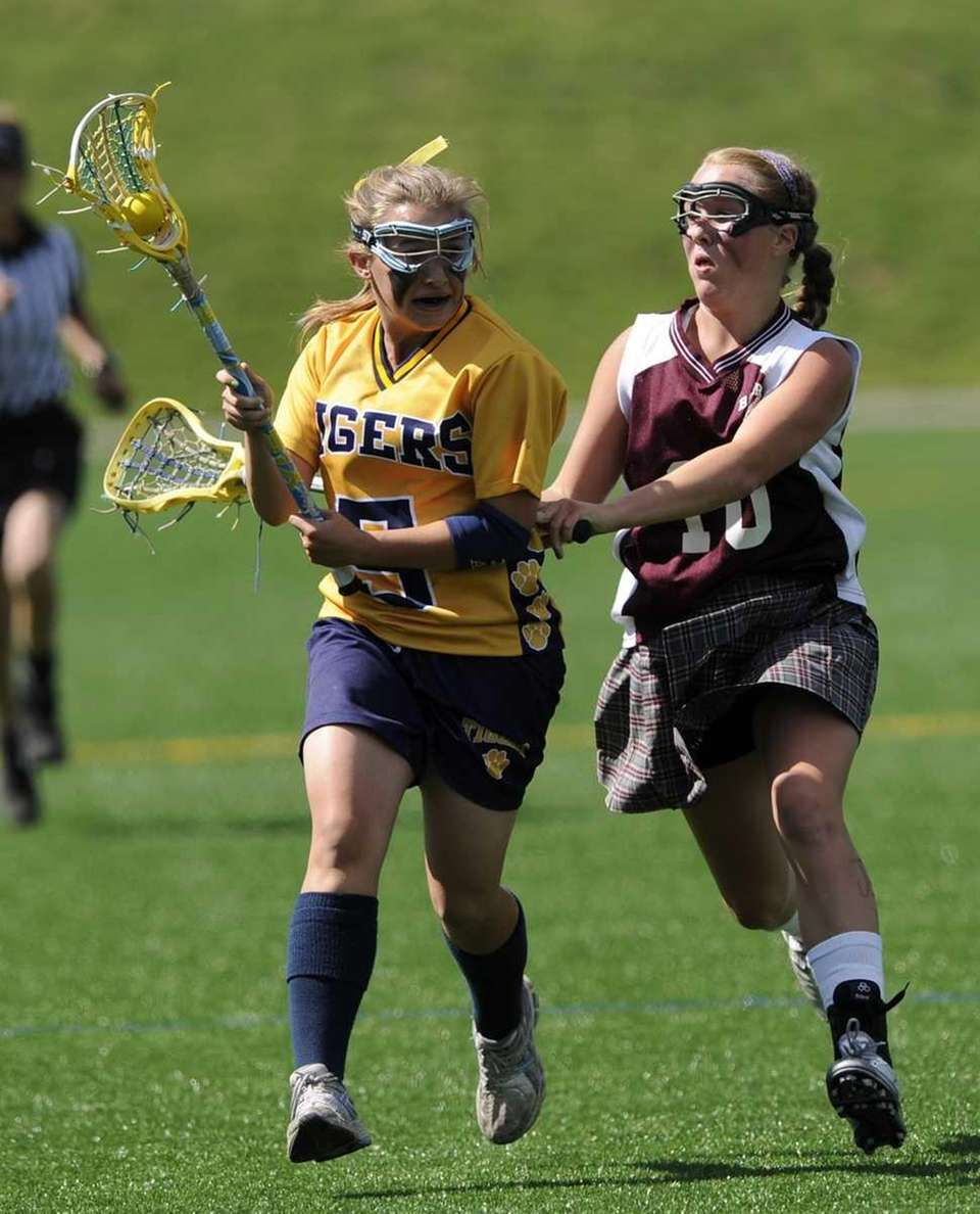 Northport's Allie Breitfeller is defended by Bay Shore's