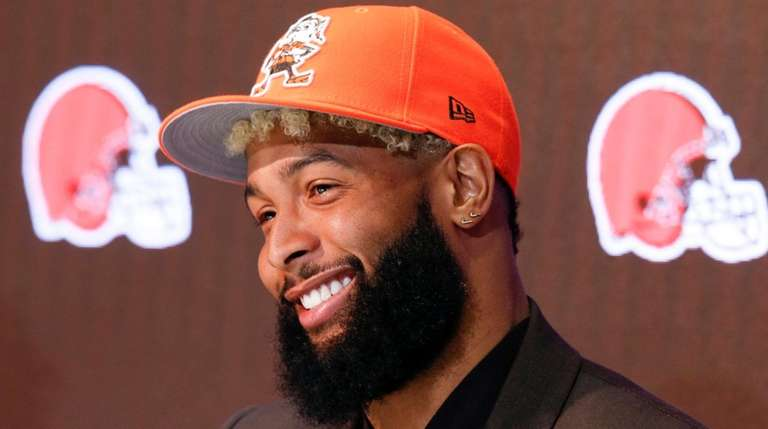 Cleveland Browns' Odell Beckham answers questions during a