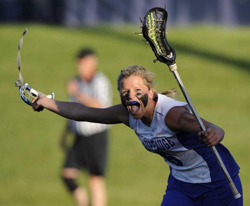 Hauppauge attacker Jennifer Porretto reacts as time runs