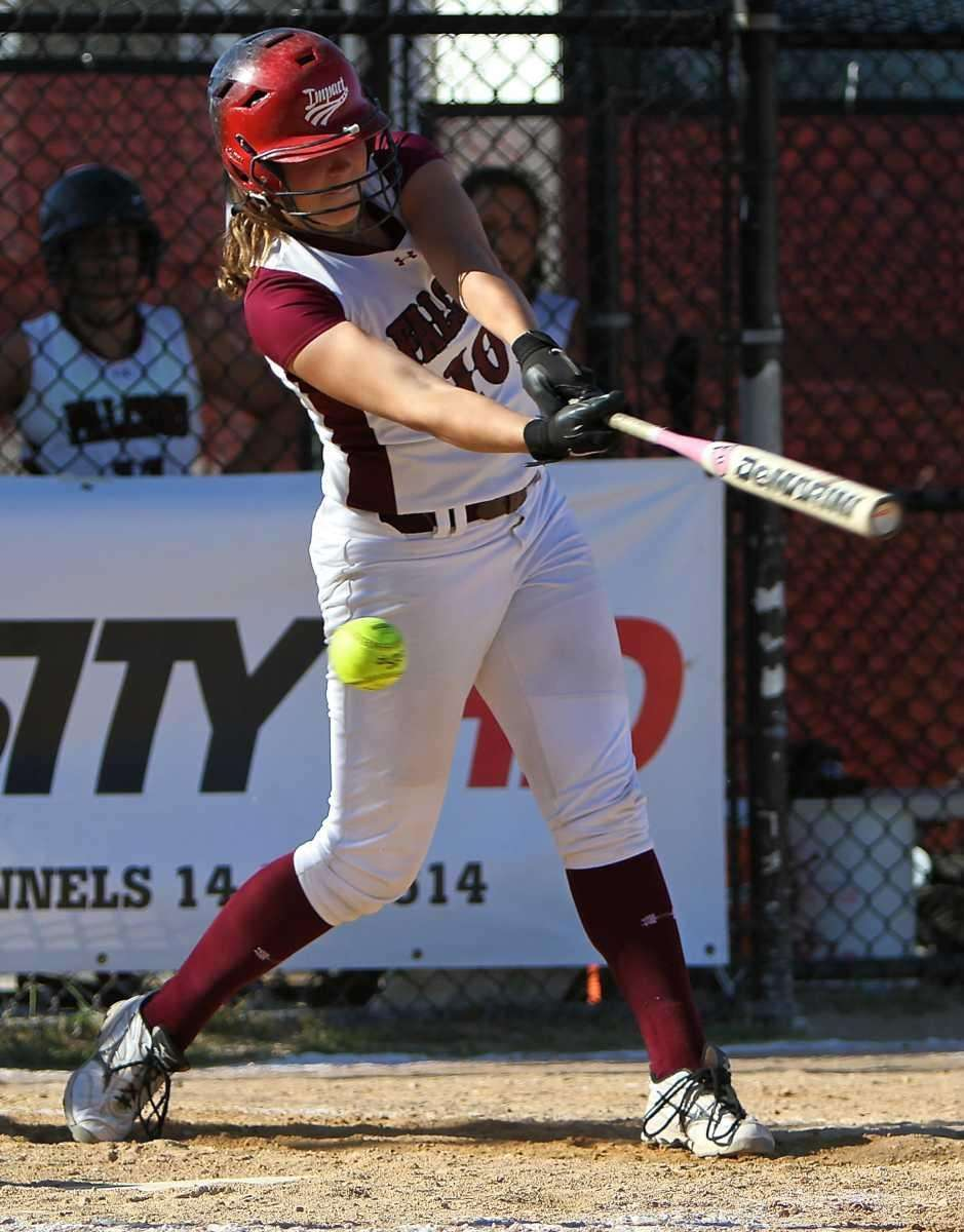 Deer Park's Aly Dzierzynski #10 swings through a