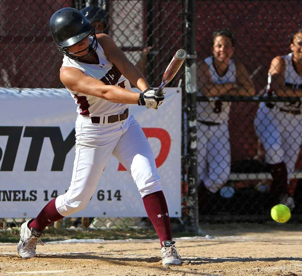 Deer Park's Jackie D'Aries #11 drives a hit