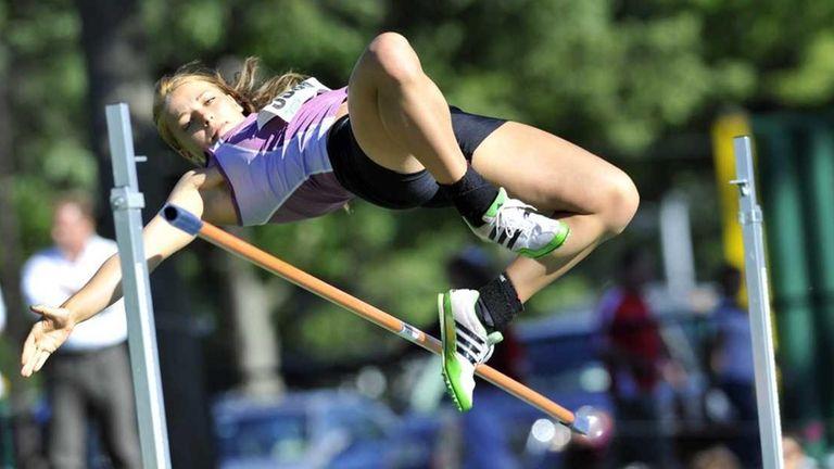 Nicole Hertzberg of Clarke HS knocks off the