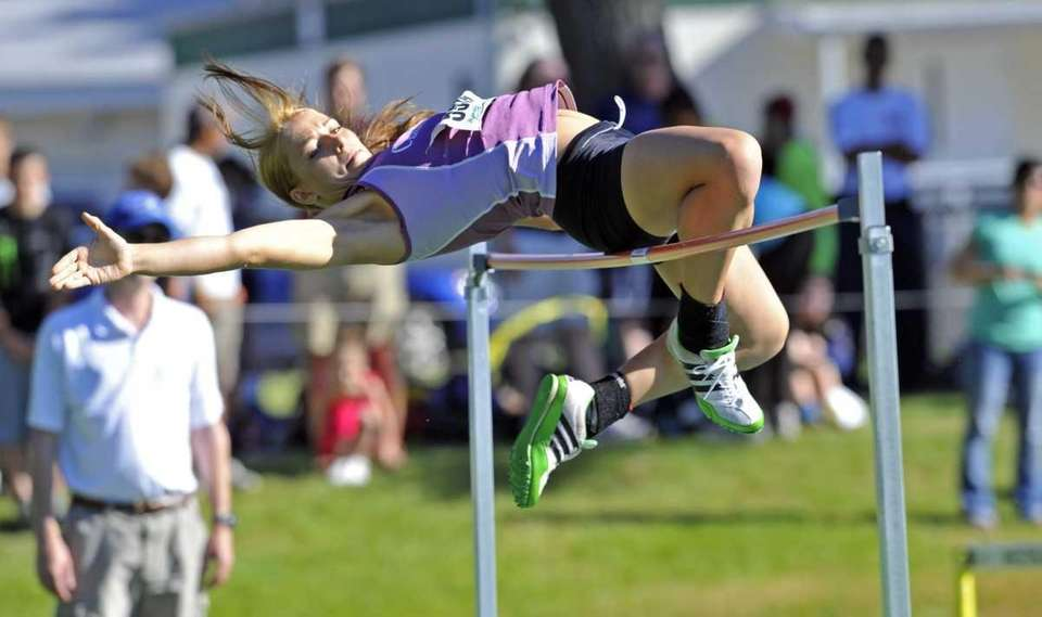 Nicole Hertzberg of Clarke HS clears the high