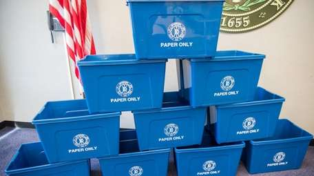 Brookhaven Town's new paper-only recycling bins at Town
