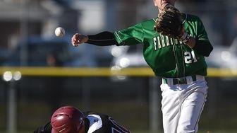 Jacob Taormina #21, Farmingdale second baseman, throws to