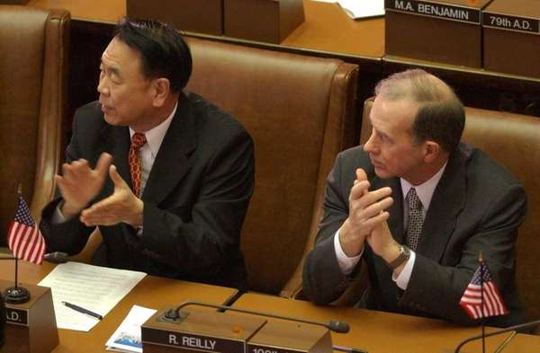 Jimmy Meng (D-Flushing), left, and Bob Reilly (D-Colonie)