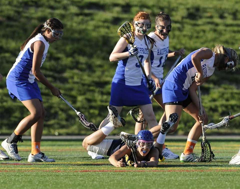 Shoreham-Wading River's Alex Fehmel falls to the ground