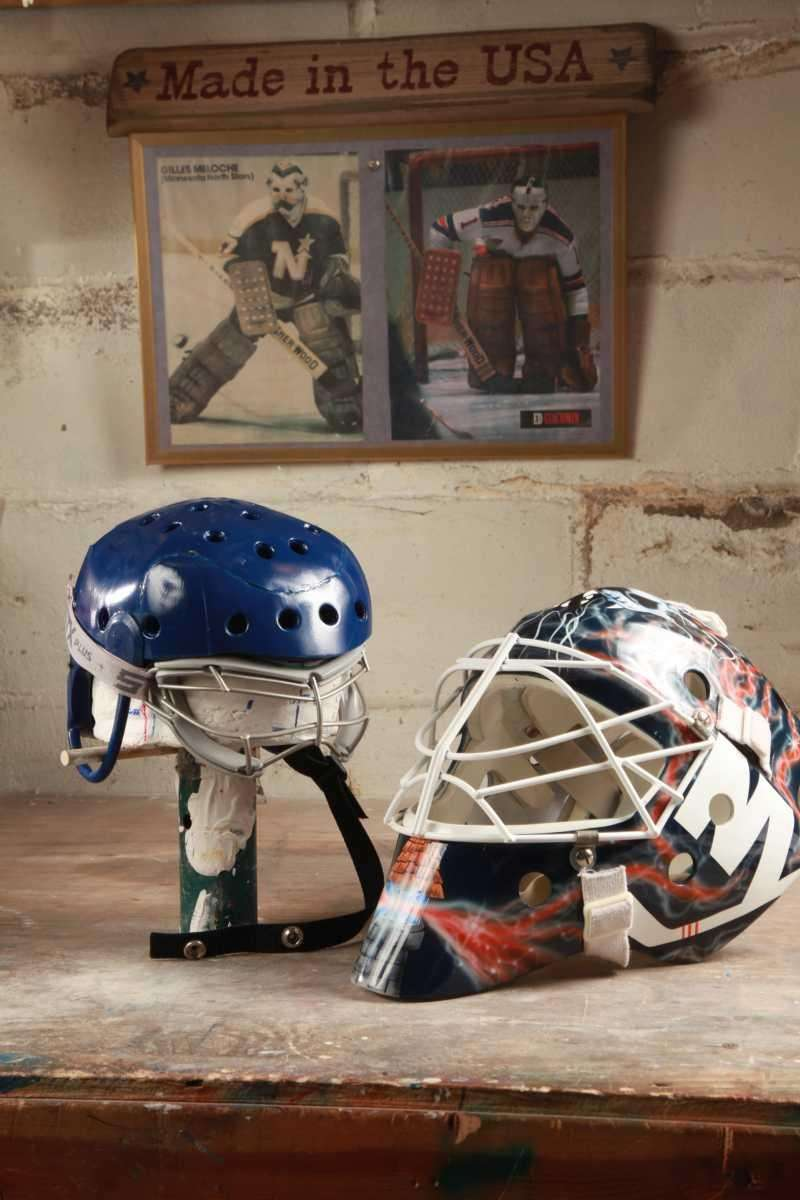 The blue helmet, left, is a prototype of