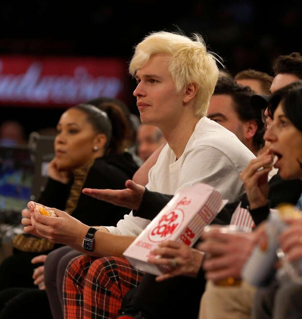Actor Ansel Elgort attends a game between the