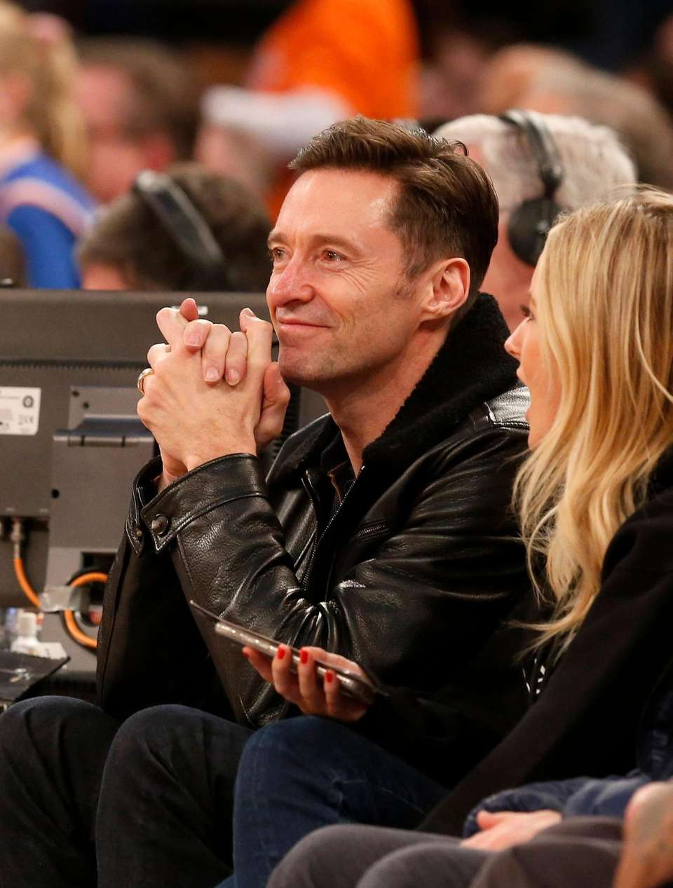 Actor Hugh Jackman attends a game between the