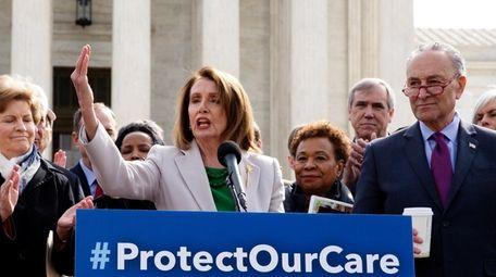 House Speaker Nancy Pelosi speaks Tuesday outside the