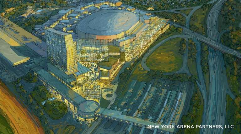 A rendering of the proposed new Belmont Park.