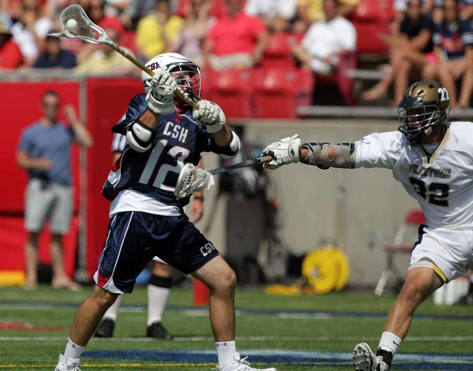 Cold Spring Harbor's Chris Moriarity (12) with the