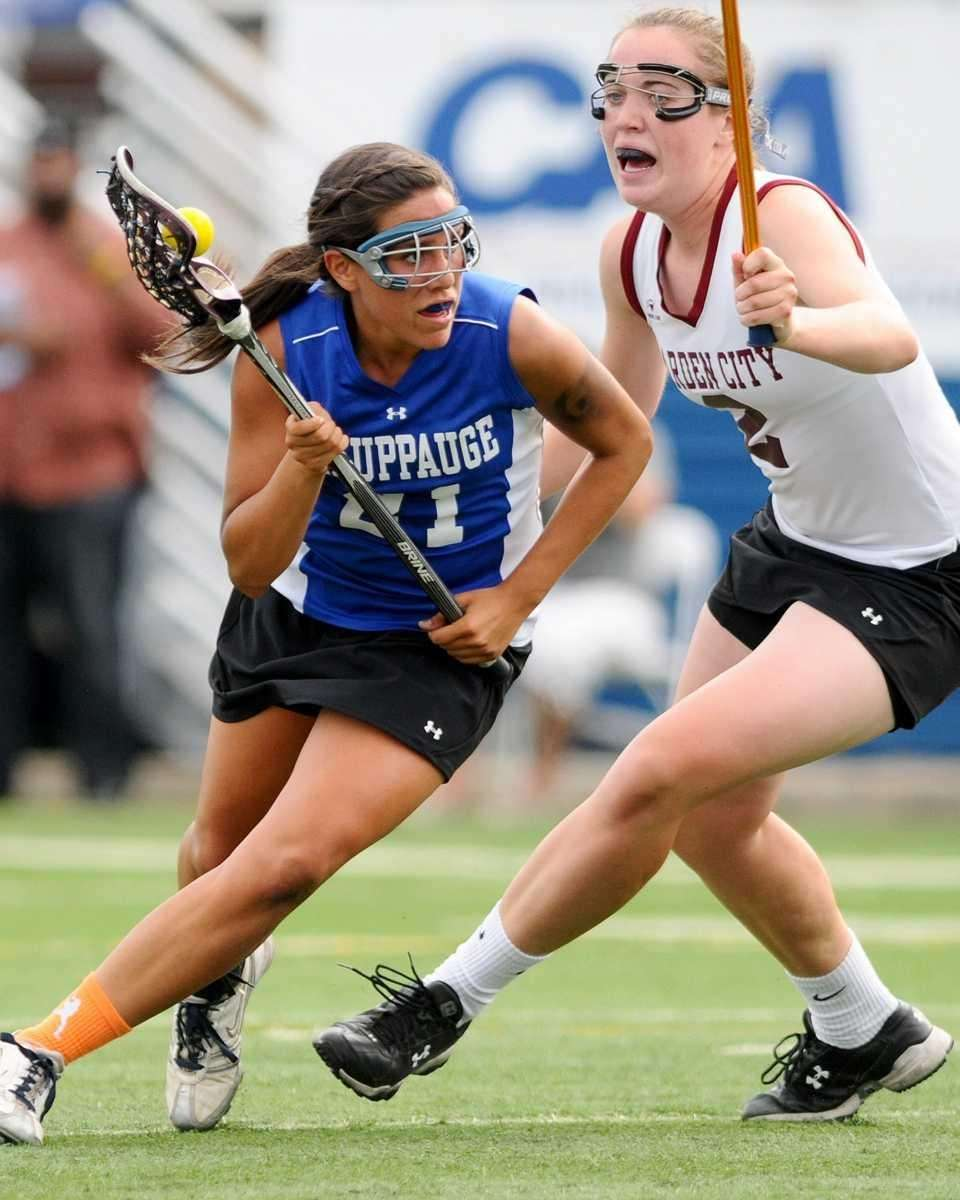Hauppauge High School #21 Lindsey Alfano, left, looks